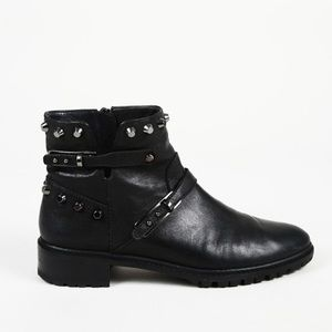 Stuart Weitzman Studded Leather Ankle Boots 7.5